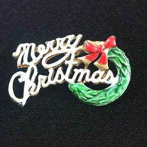 Vintage Enamel Merry Christmas Brooch Pin